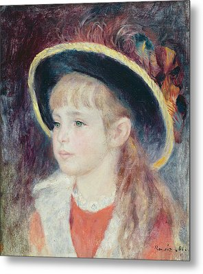 Portrait Of A Young Girl In A Blue Hat, 1881 Oil On Canvas Metal Print by Pierre Auguste Renoir