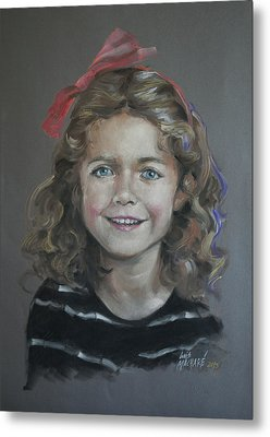 Portrait Of A Young Girl Metal Print by Mary Machare