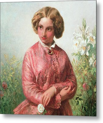 Portrait Of A Young Girl With A Rose Metal Print by Abraham Solomon