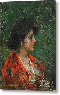 Portrait Of A Young Lady Metal Print by Celestial Images