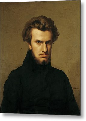 Portrait Of Ambroise Thomas 1811-96 1834 Oil On Canvas Metal Print by Hippolyte Flandrin