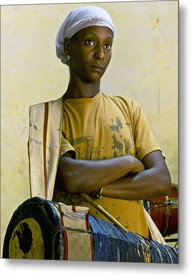 Portrait Of An Afro-cuban Drummer Metal Print by Ann Tracy