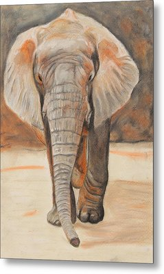 Metal Print featuring the painting Portrait Of An Elephant by Jeanne Fischer