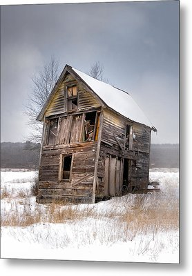 Portrait Of An Old Shack - Agriculural Buildings And Barns Metal Print by Gary Heller