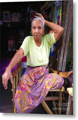 Metal Print featuring the photograph Portrait Of Elderly Burmese Lady Sitting In Front Of Home 33rd Street Chanayethazan Mandalay Burma by Ralph A  Ledergerber-Photography