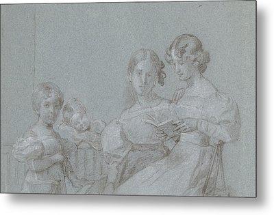 Portrait Of Four Sisters Van Loon, Charles Howard Hodges Metal Print