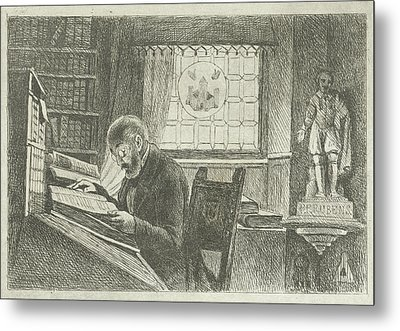 Portrait Of Frederick Verachter At His Desk In The Archive Metal Print by Philippus Jacobus Van Bree