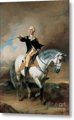 Portrait Of George Washington Taking The Salute At Trenton Metal Print