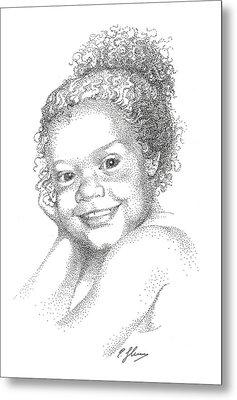 Portrait Of Girl. Commission. Stippling In Black Ink Metal Print