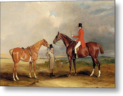 Portrait Of John Drummond On A Hunter With A Groom Holding His Second Horse Metal Print by John E Ferneley