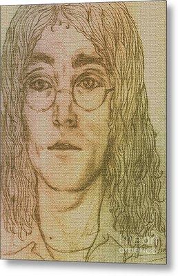 Portrait Of John Lennon Metal Print by Joan-Violet Stretch