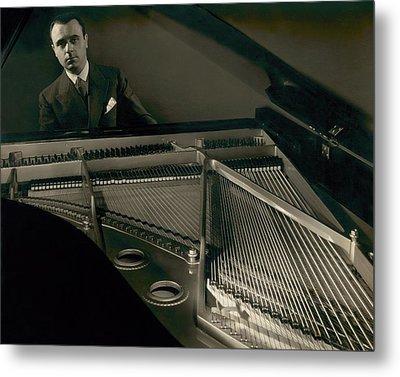 Portrait Of Jose Iturbi Sitting At His Piano Metal Print