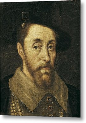 Portrait Of King James I. 17th C Metal Print by Everett