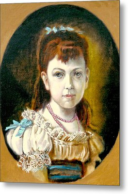 Metal Print featuring the painting Portrait Of Little Girl by Henryk Gorecki