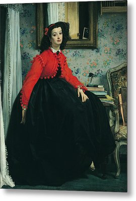 Young Lady In A Red Jacket Metal Print