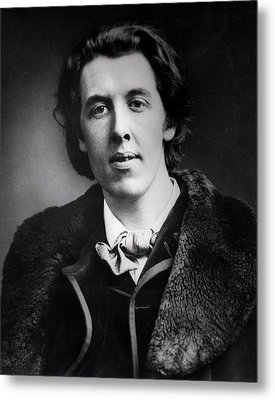 Portrait Of Oscar Wilde 1854-1900 Wearing An Overcoat With A Fur Collar Bought For His Trip Metal Print