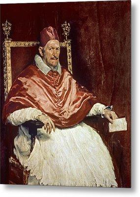 Portrait Of Pope Innocent X 1574-1655, 1650 Oil On Canvas Metal Print