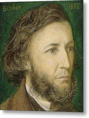 Portrait Of Robert Browning Metal Print by Dante Charles Gabriel Rossetti