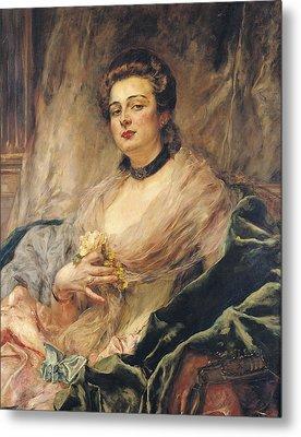 Portrait Of The Artists Wife Oil On Canvas Metal Print by Eduardo-Leon Garrido