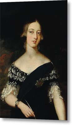 Portrait Of The Young Queen Victoria Metal Print by English School