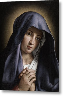 Portrait Of The Young Virgin Mary Metal Print by Giovanni Battista Salvi da Sassoferrato