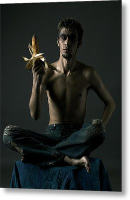 Portrait Of Young Man With Corn Cob Metal Print by Evgeniy Lankin