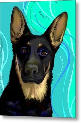 Metal Print featuring the digital art Portrait Of A German Shepherd Dog by Karon Melillo DeVega