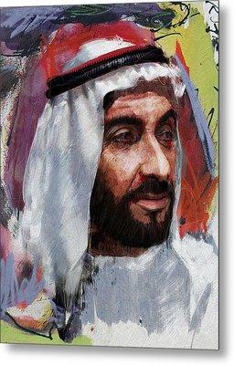 Portrait Of Zayed Bin Sultan Al Nahyan Metal Print by Maryam Mughal