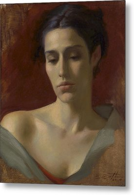 Portrait Study For Spring Rain Metal Print by Deirdre West