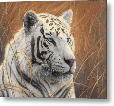 Portrait White Tiger 2 Metal Print by Lucie Bilodeau