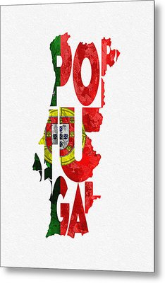 Portugal Typographic Map Flag Metal Print by Ayse Deniz