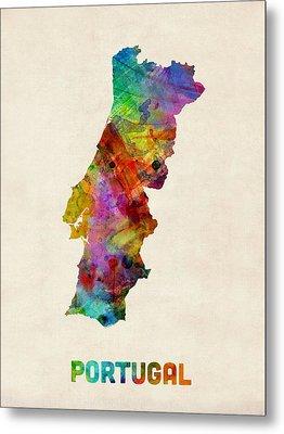 Portugal Watercolor Map Metal Print