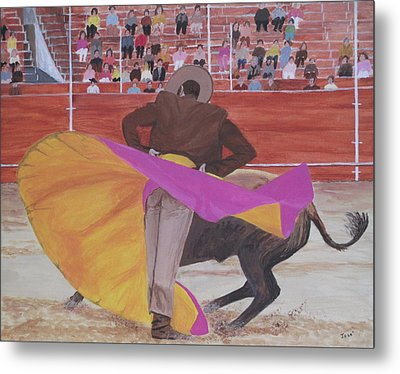 Metal Print featuring the painting Portuguese Bullfighter by Hilda and Jose Garrancho