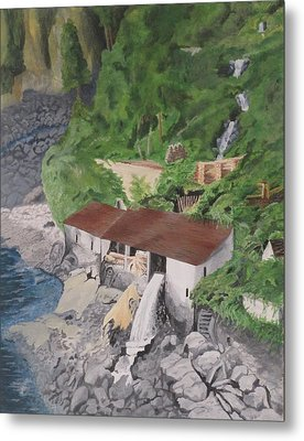 Metal Print featuring the painting Portuguese Sawmill by Hilda and Jose Garrancho