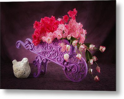 Posies In A Pushcart Still Life Metal Print by Tom Mc Nemar