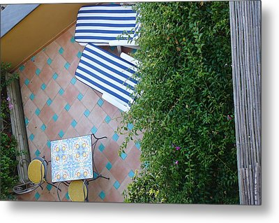 Positano - Balcony View - Lounge Chairs Metal Print by Nora Boghossian