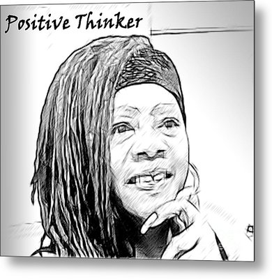 Positive Thinker Blk/wht Metal Print