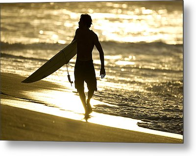 Post Surf Gold Metal Print by Sean Davey