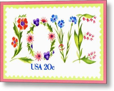 Postage Stamp Love Metal Print