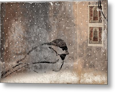 Postcard Chickadee In The Snow Metal Print