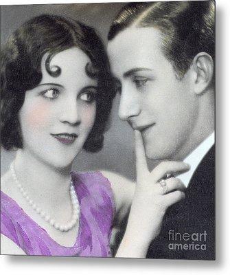 Postcard Depicting Two Lovers Metal Print