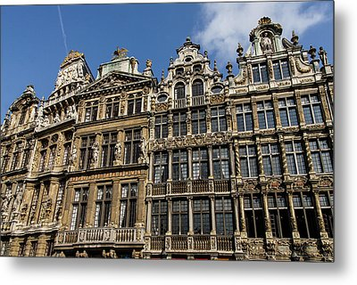 Metal Print featuring the photograph Postcard From Brussels - Grand Place Elegant Facades by Georgia Mizuleva