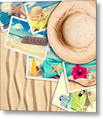 Postcards In The Sand Metal Print by Amanda Elwell