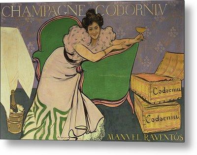 Poster Advertising Codorniu Champagne  Metal Print by Ramon Casas i Carbo