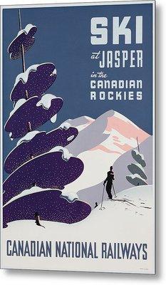 Poster Advertising The Canadian Ski Resort Jasper Metal Print by Canadian School