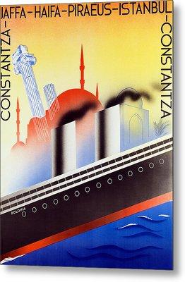 Poster Advertising The Polish Palestine Line Metal Print by Zygmunt Glinicki