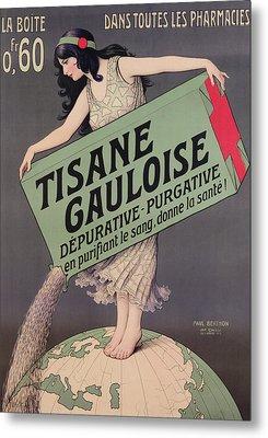 Poster Advertising Tisane Gauloise Metal Print by Paul Berthon