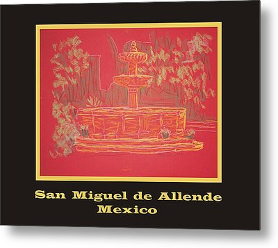 Poster - Orange Fountain Metal Print by Marcia Meade