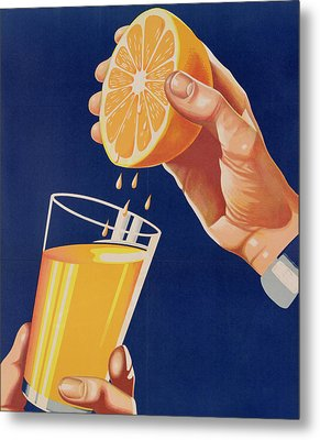 Poster With A Glass Of Orange Juice Metal Print by Israeli School