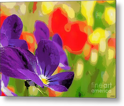 Posterized Viola Metal Print by Heidi Manly